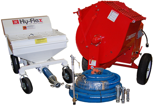 Fireproofing pump, mixer and sprayer bundle